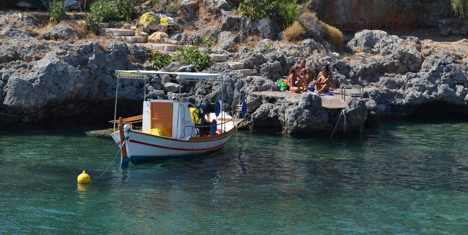 Fishing boat at Avlemona's pool